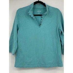 Orvis womens medium top knit stretch 3/4 sleeve